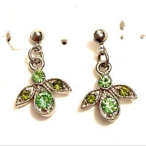 ANGEL earrings Green Rhinestone dangle